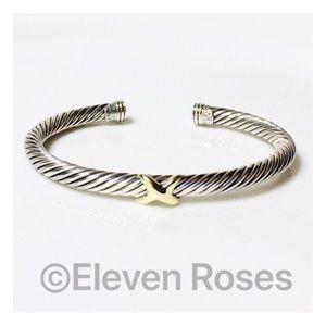 David Yurman Sterling & 14k X Cable Cuff Bracelet